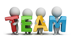 """3d small people holding hands in the word """"team"""". 3d image. Isolated white background."""